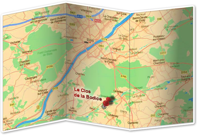 Map to Le Clos de la Bodice